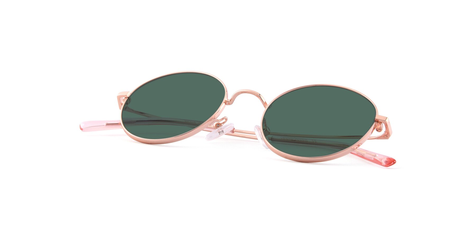 View of Moore in Rose Gold with Green Polarized Lenses