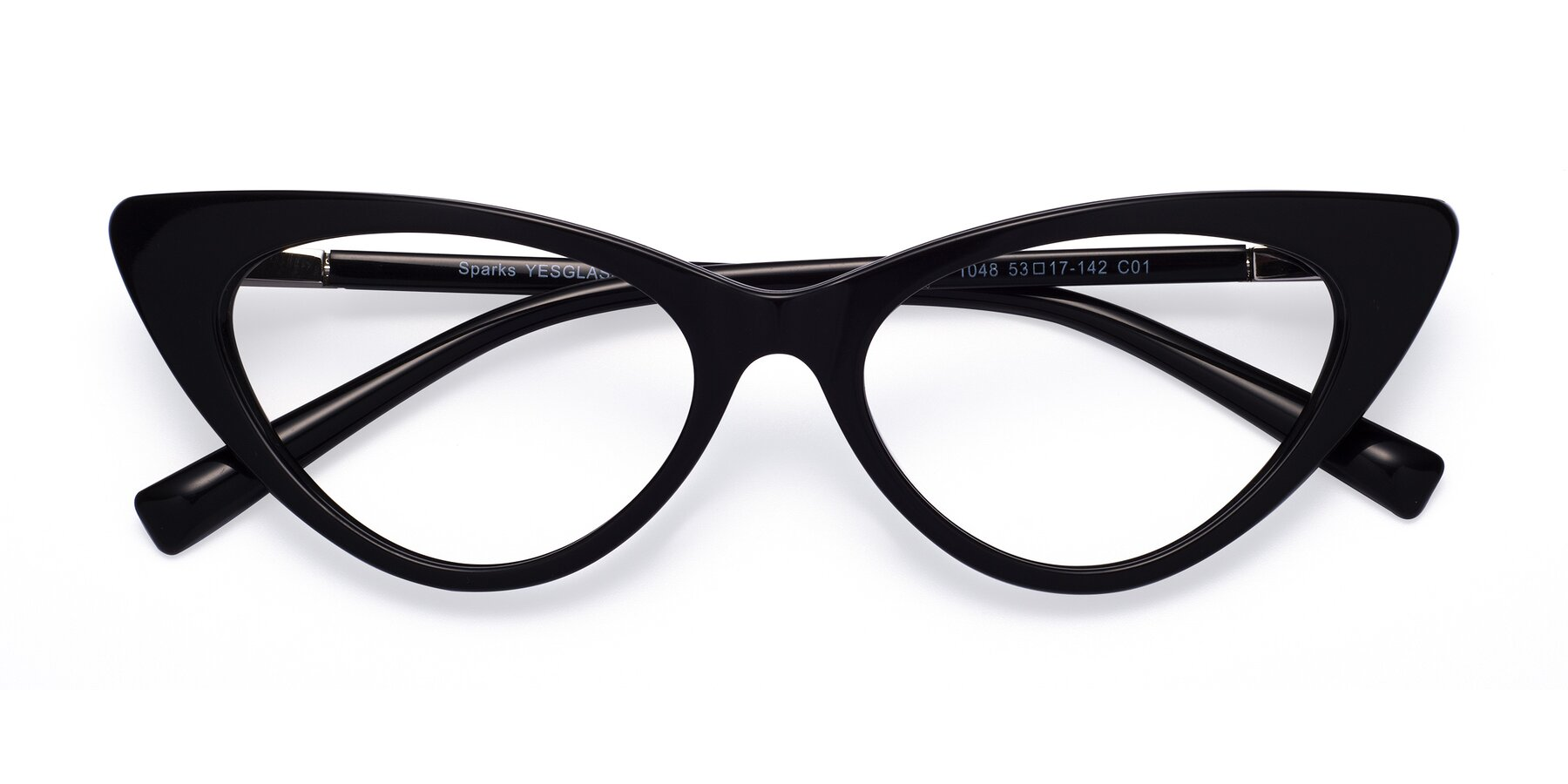 Folded Front of Sparks in Black with Clear Blue Light Blocking Lenses