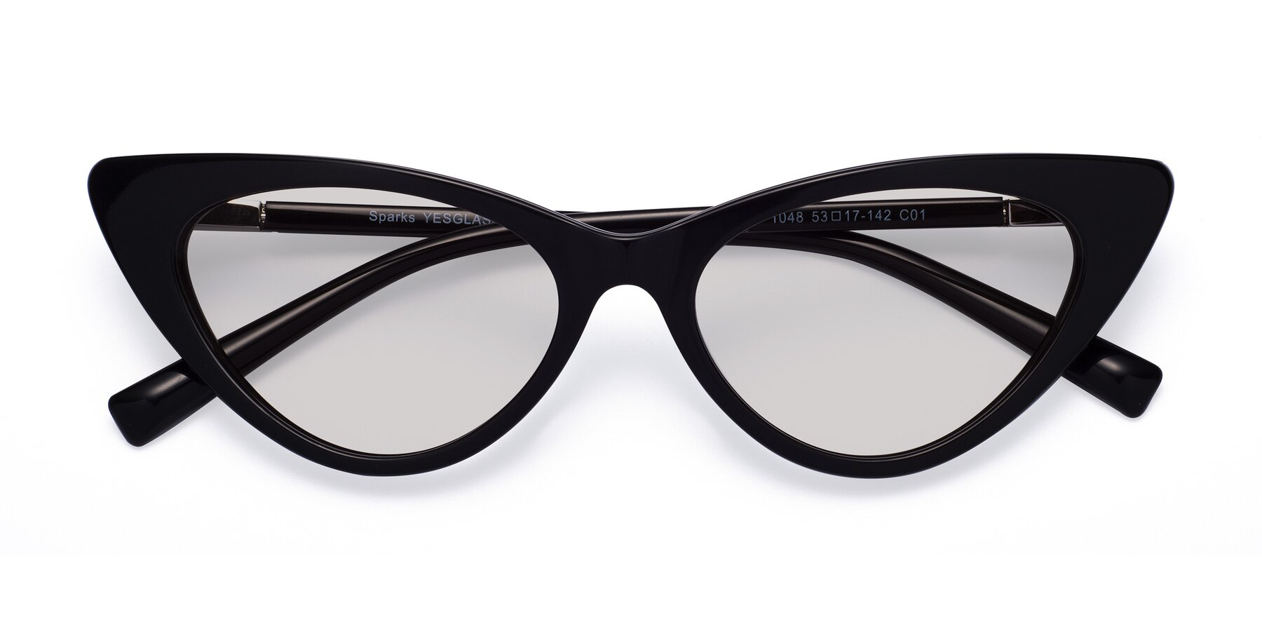 Folded Front of Sparks in Black with Light Gray Tinted Lenses