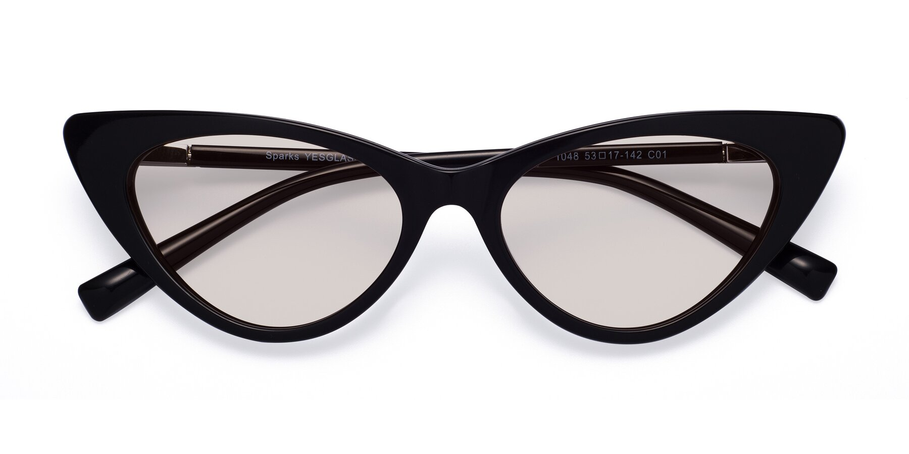 Folded Front of Sparks in Black with Light Brown Tinted Lenses