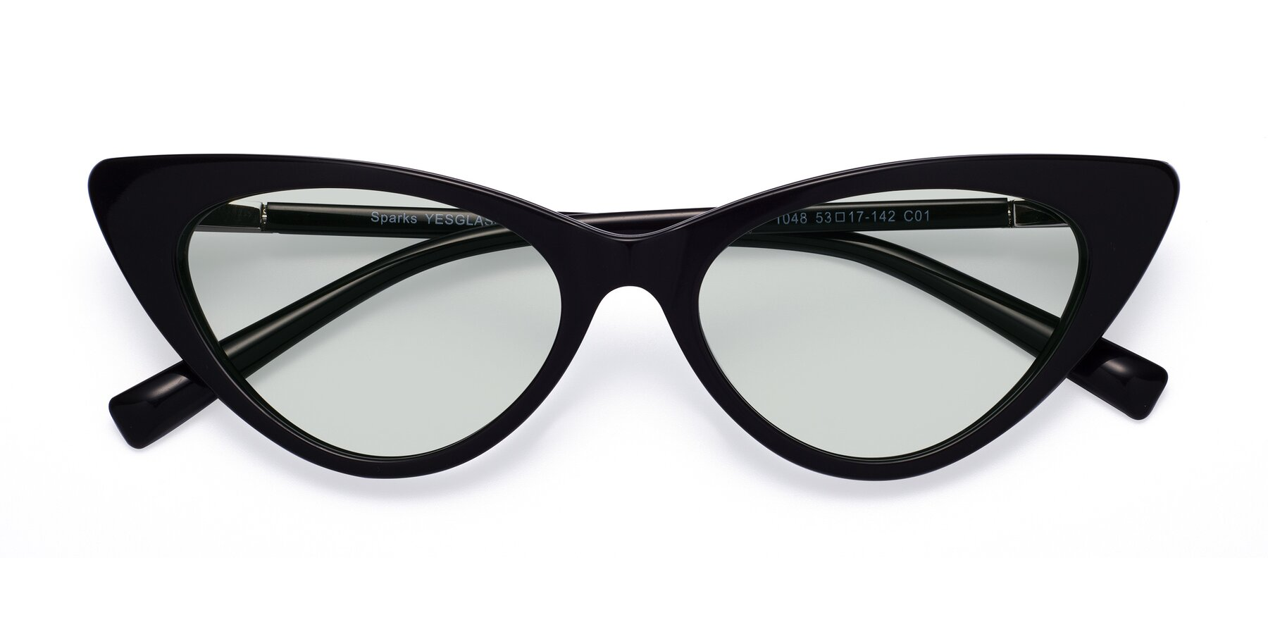 Folded Front of Sparks in Black with Light Green Tinted Lenses