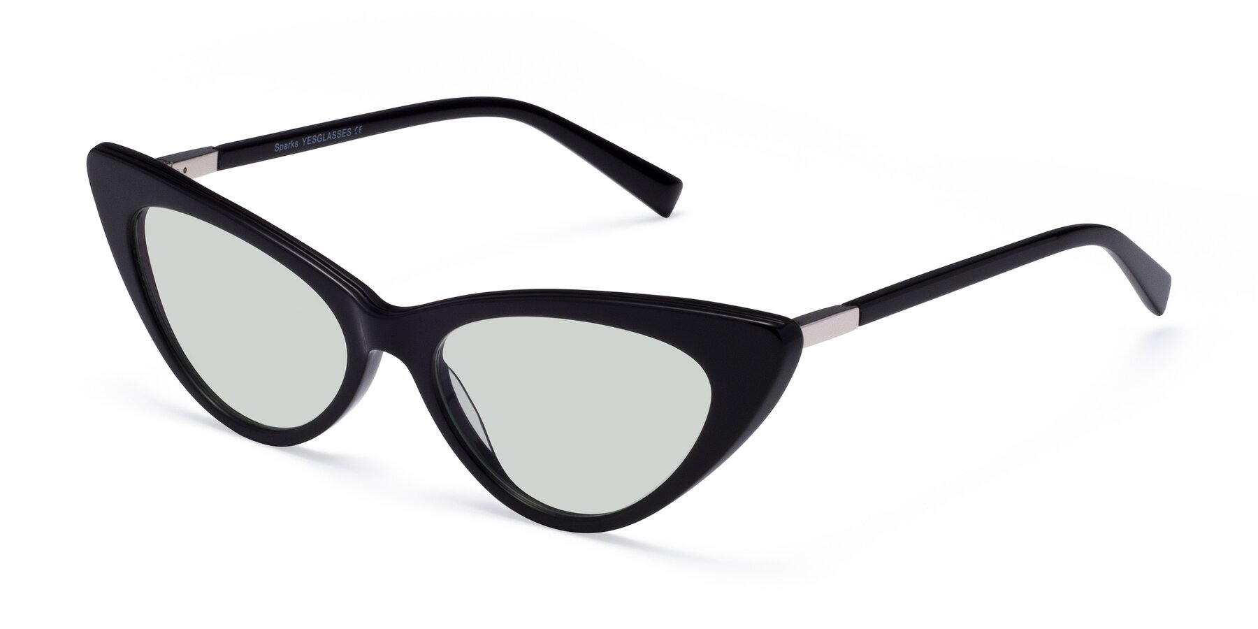 Angle of Sparks in Black with Light Green Tinted Lenses