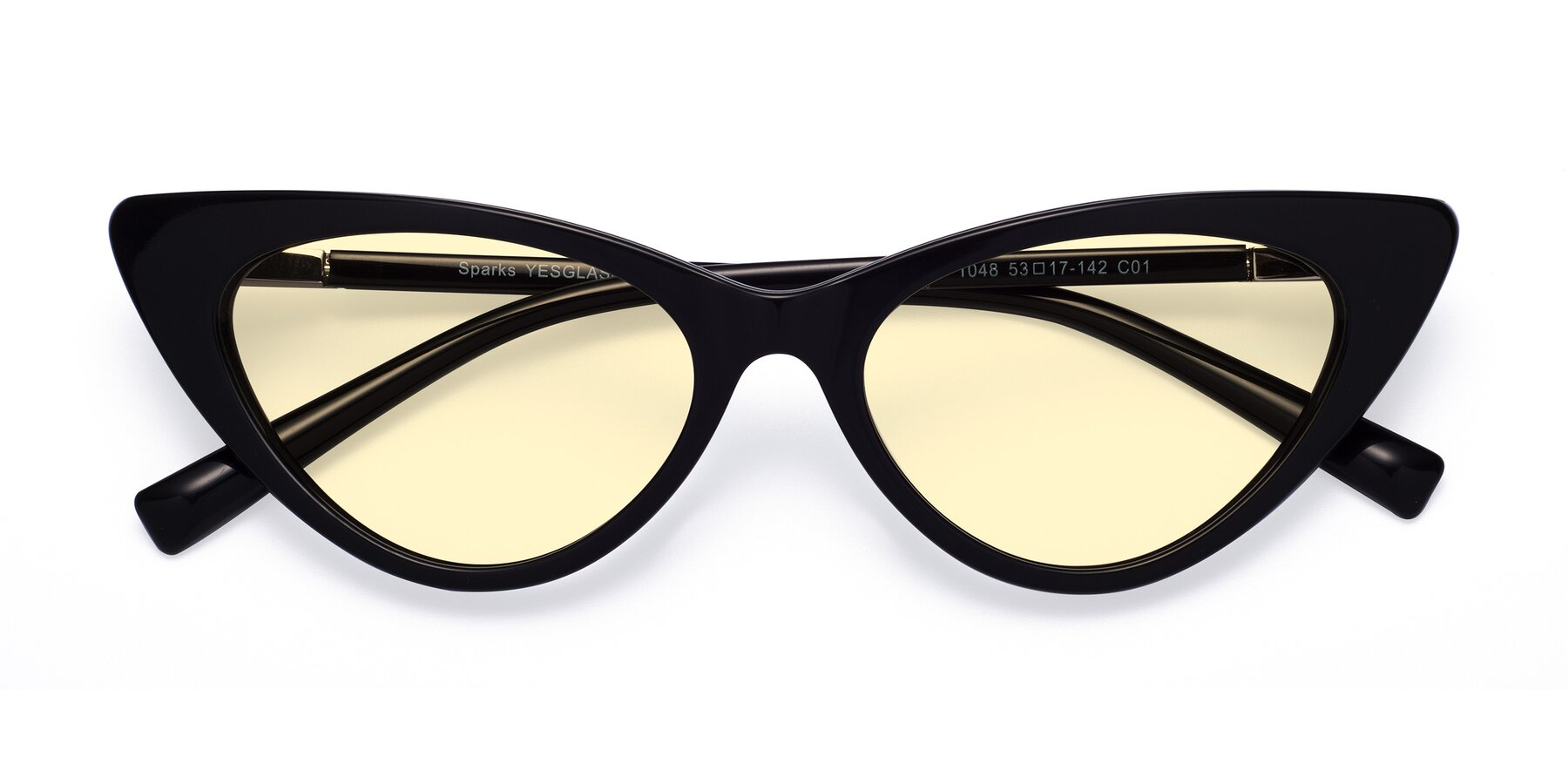Folded Front of Sparks in Black with Light Yellow Tinted Lenses