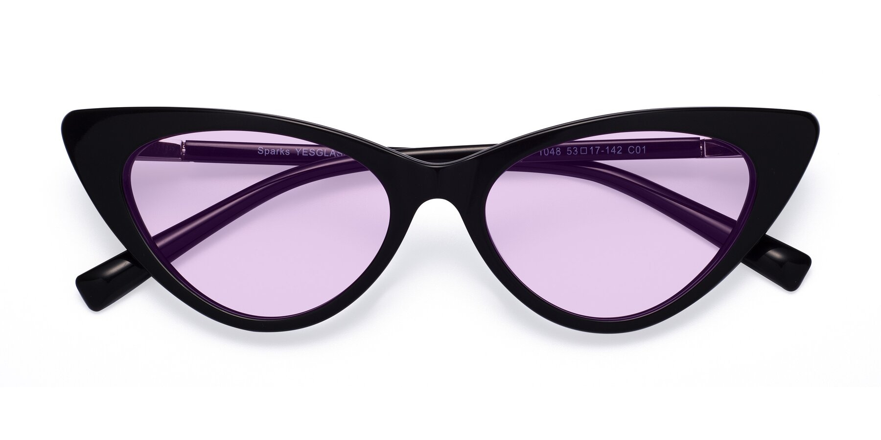 Folded Front of Sparks in Black with Light Purple Tinted Lenses