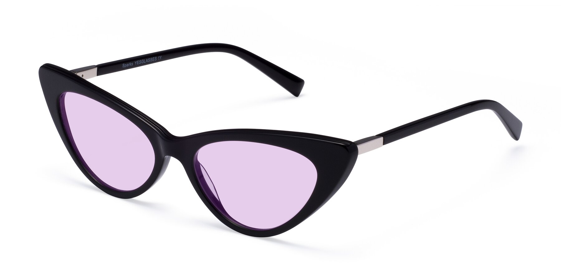 Angle of Sparks in Black with Light Purple Tinted Lenses