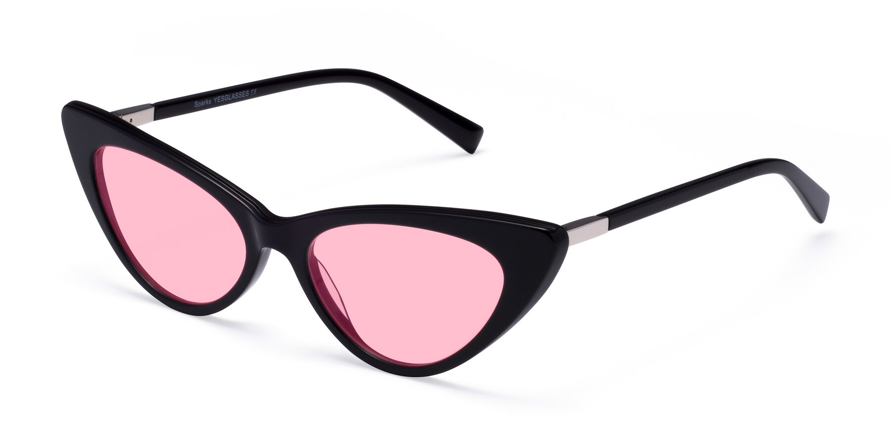 Angle of Sparks in Black with Medium Pink Tinted Lenses