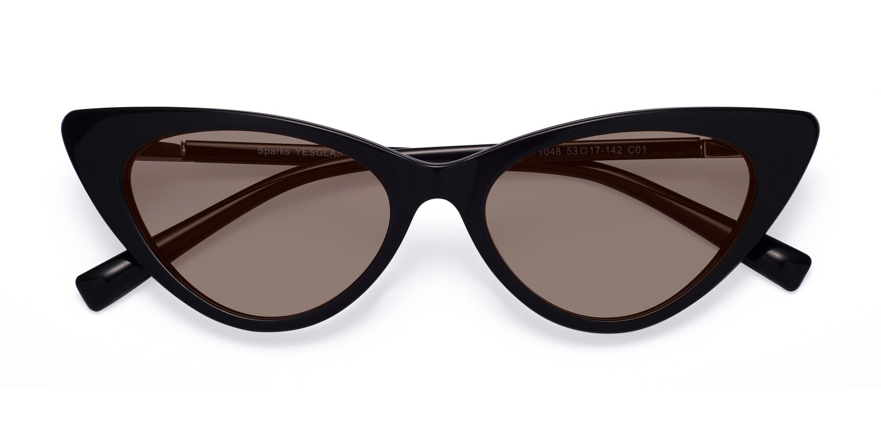 Folded Front of Sparks in Black with Medium Brown Tinted Lenses