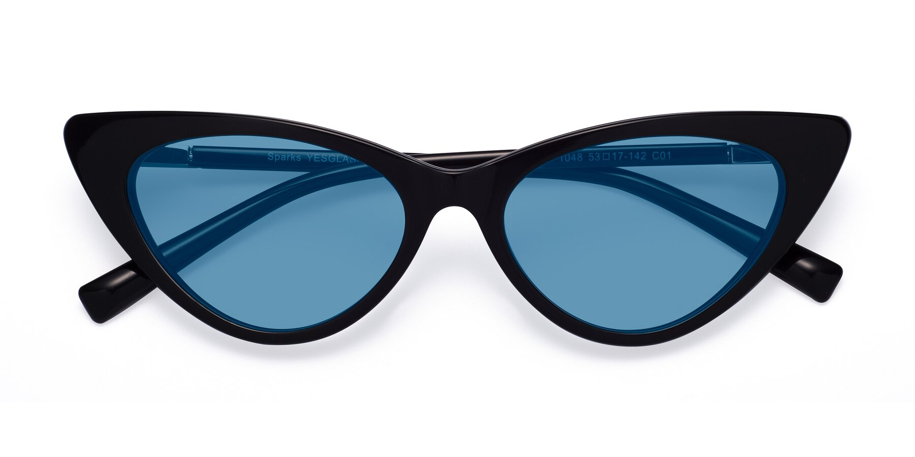 Folded Front of Sparks in Black with Medium Blue Tinted Lenses