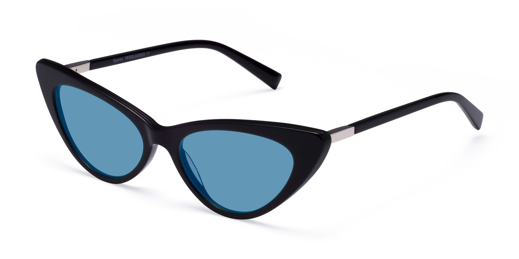Angle of Sparks in Black with Medium Blue Tinted Lenses