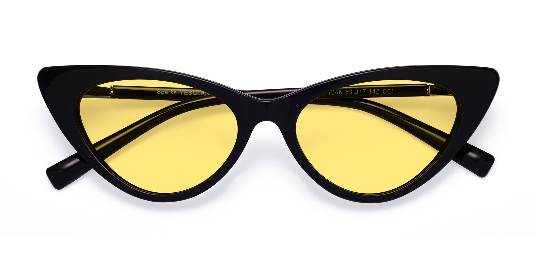 Folded Front of Sparks in Black with Medium Yellow Tinted Lenses