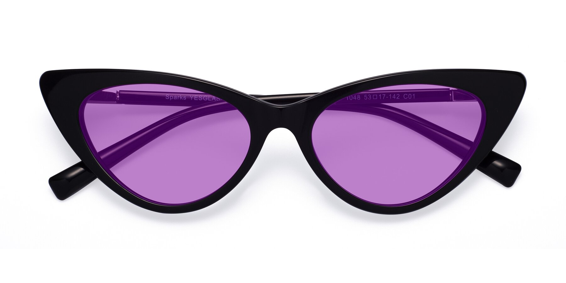 Folded Front of Sparks in Black with Medium Purple Tinted Lenses