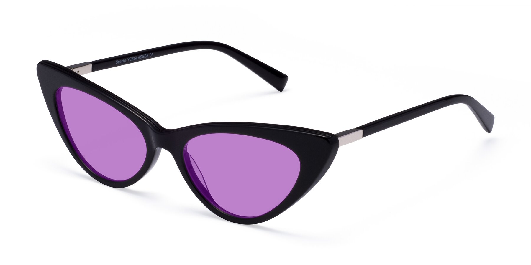Angle of Sparks in Black with Medium Purple Tinted Lenses