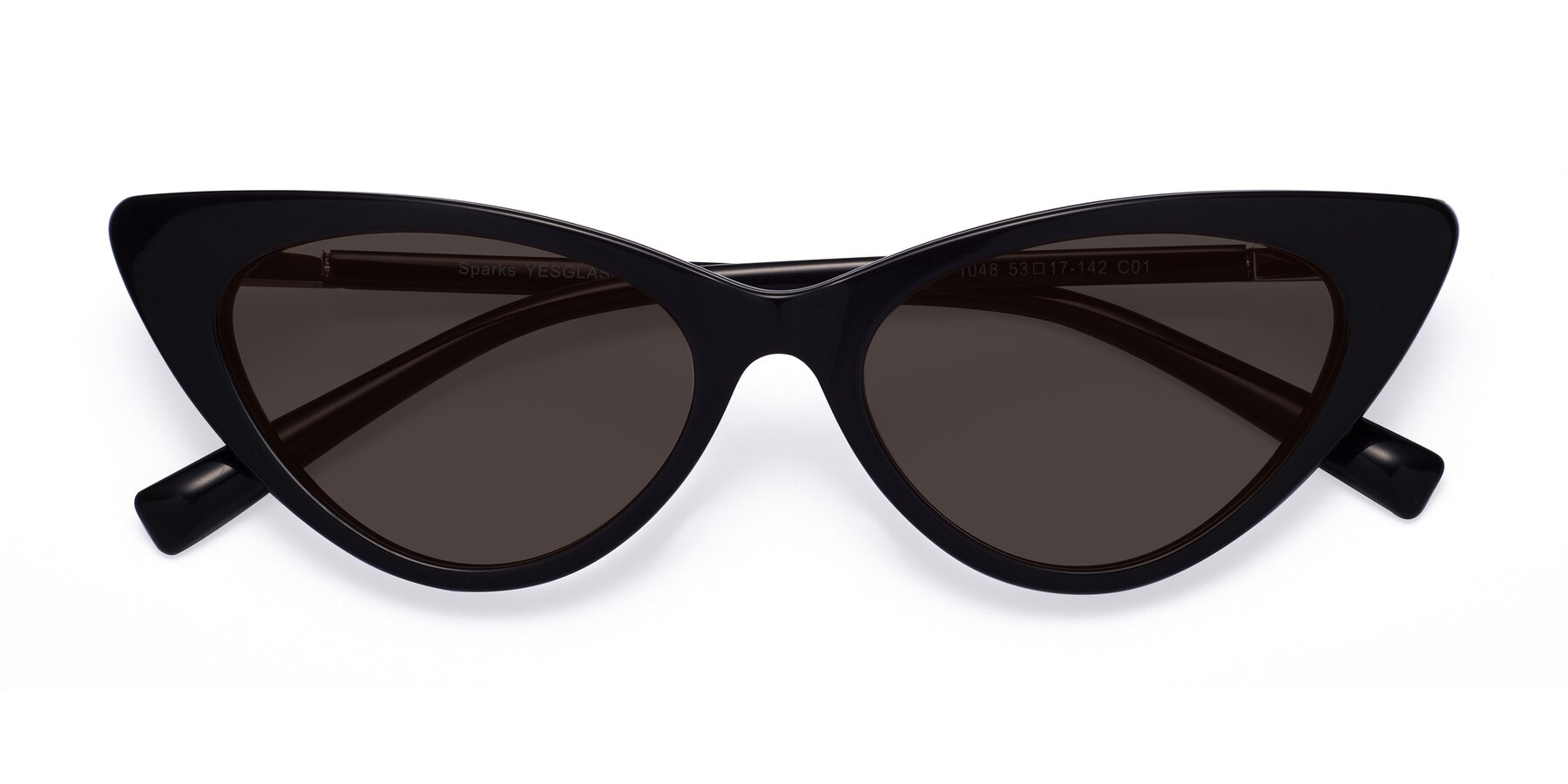 Folded Front of Sparks in Black with Gray Tinted Lenses