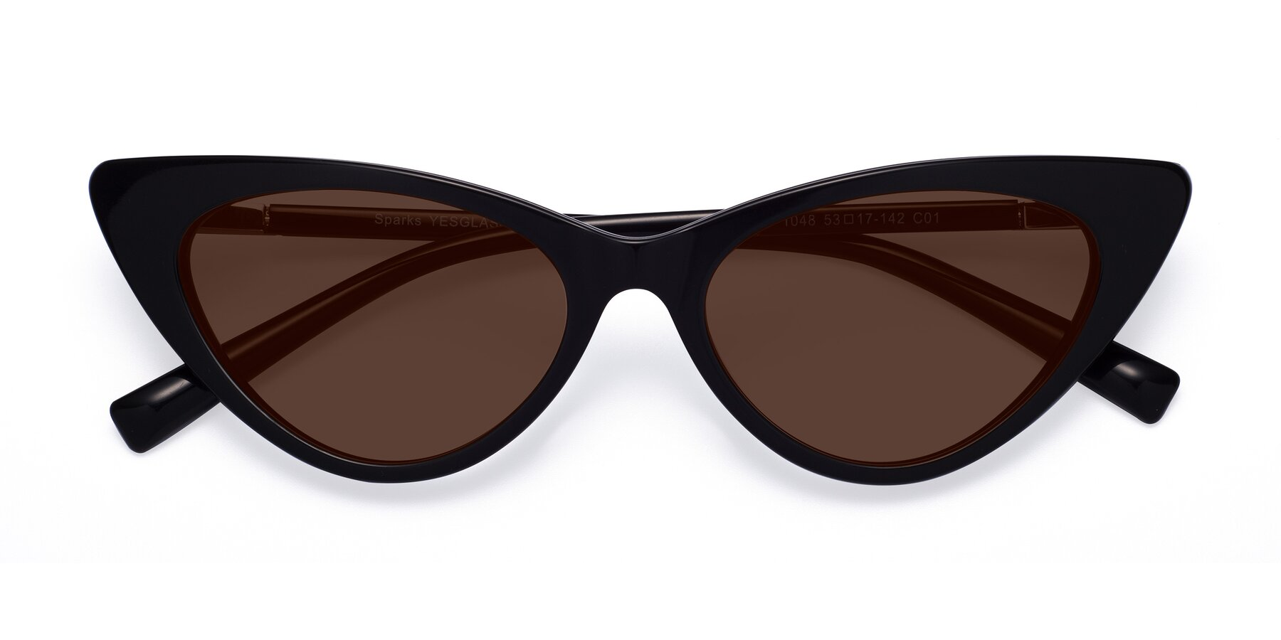 Folded Front of Sparks in Black with Brown Tinted Lenses