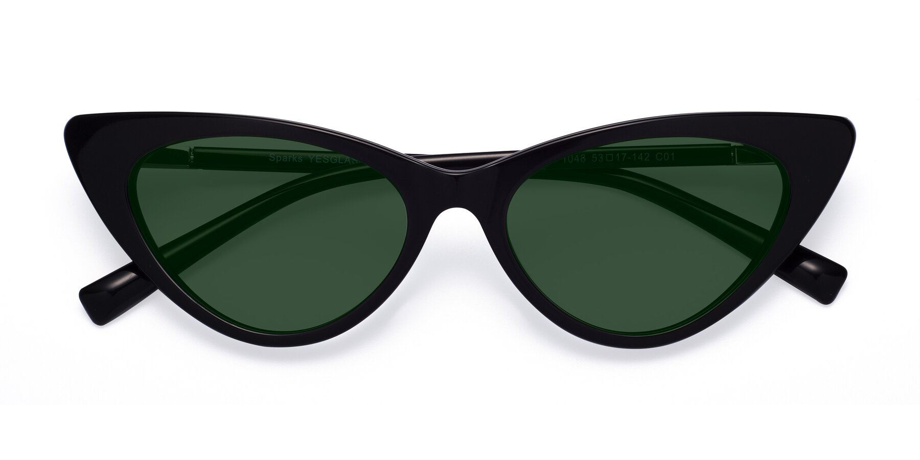 Folded Front of Sparks in Black with Green Tinted Lenses