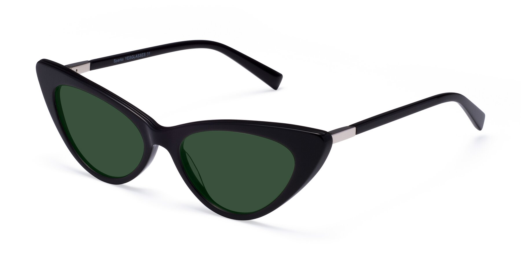 Angle of Sparks in Black with Green Tinted Lenses