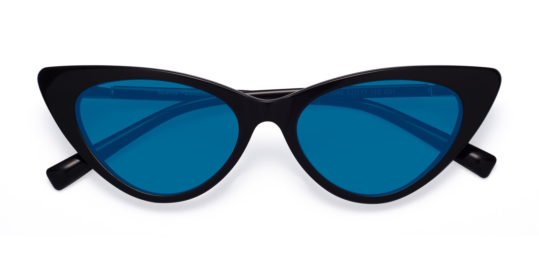 Folded Front of Sparks in Black with Blue Tinted Lenses