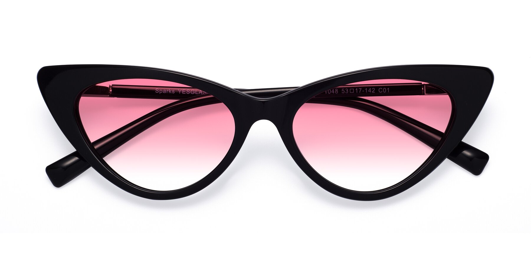 Folded Front of Sparks in Black with Pink Gradient Lenses