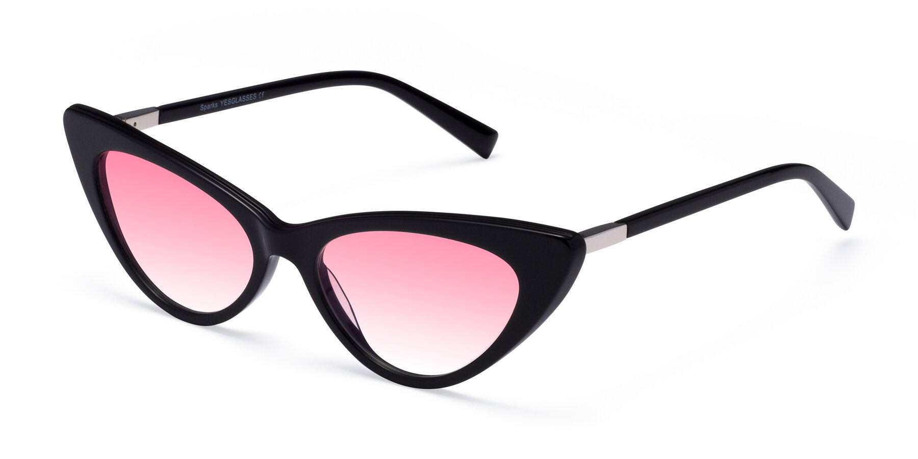 Angle of Sparks in Black with Pink Gradient Lenses
