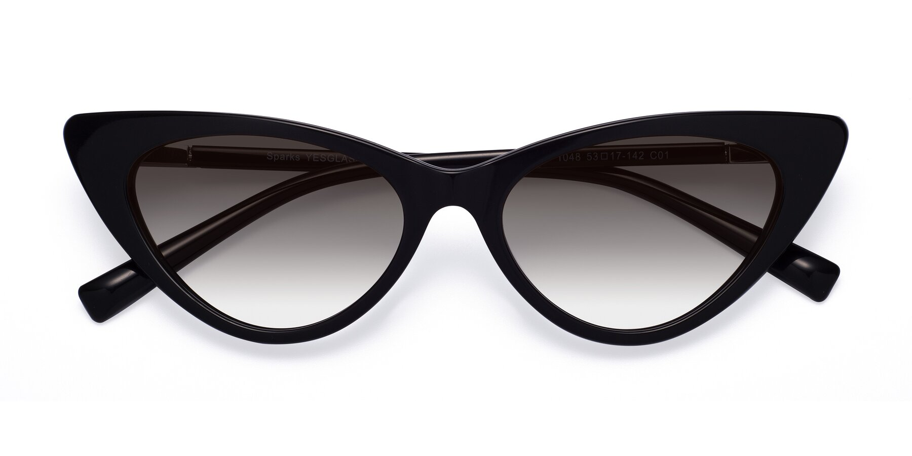 Folded Front of Sparks in Black with Gray Gradient Lenses