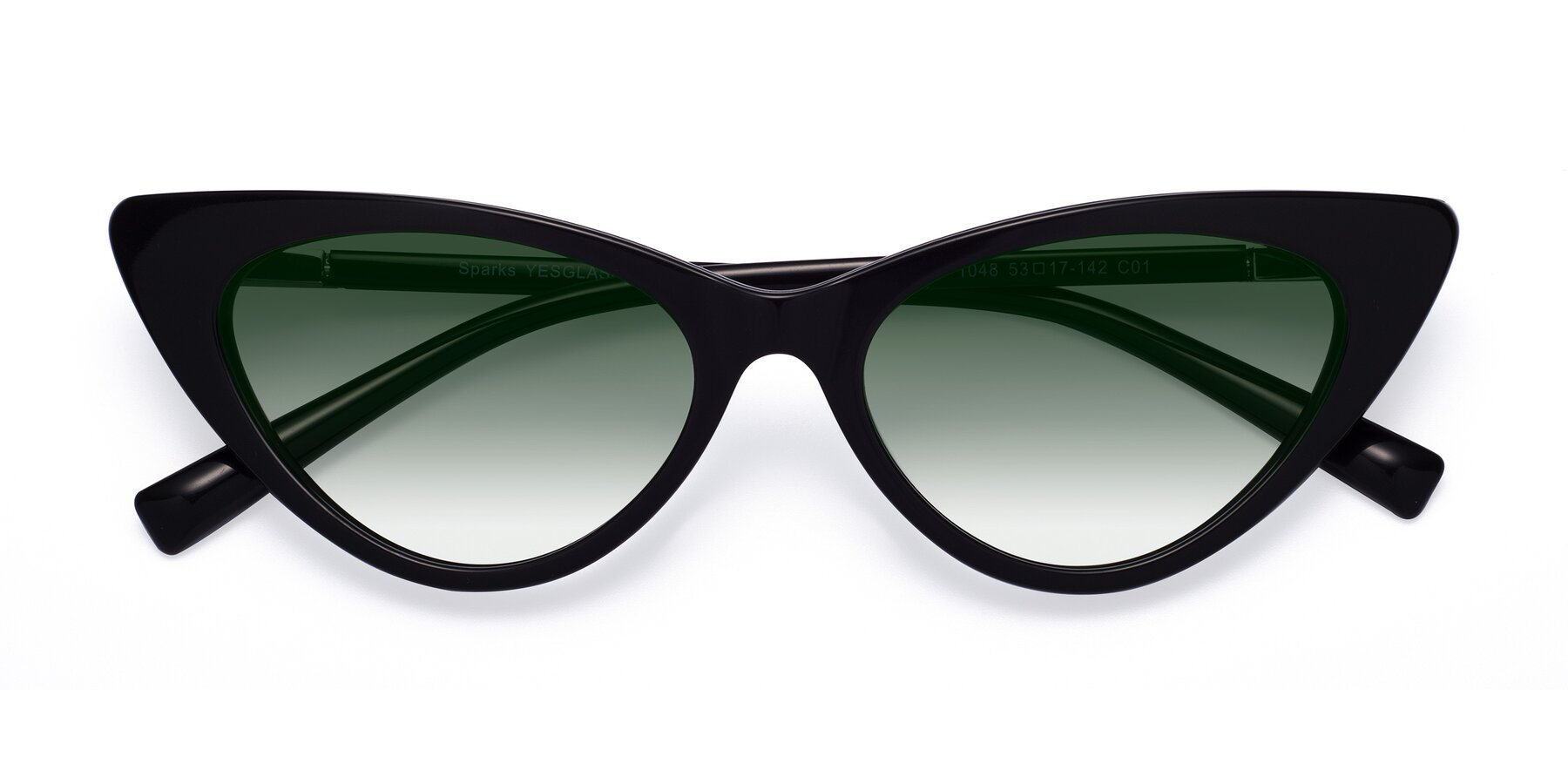 Folded Front of Sparks in Black with Green Gradient Lenses