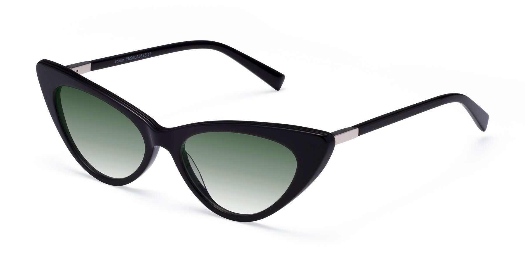 Angle of Sparks in Black with Green Gradient Lenses