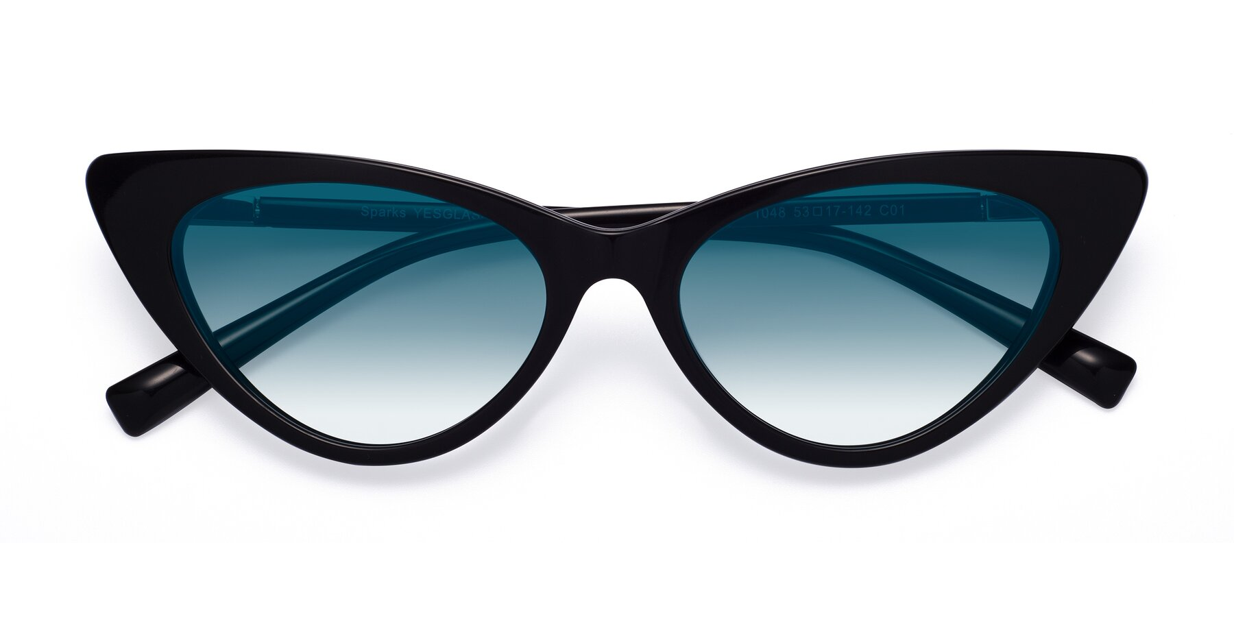 Folded Front of Sparks in Black with Blue Gradient Lenses