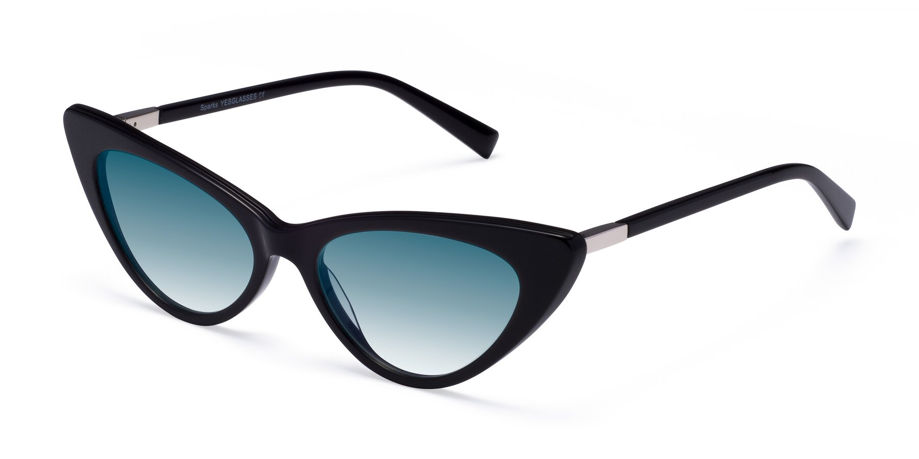 Angle of Sparks in Black with Blue Gradient Lenses