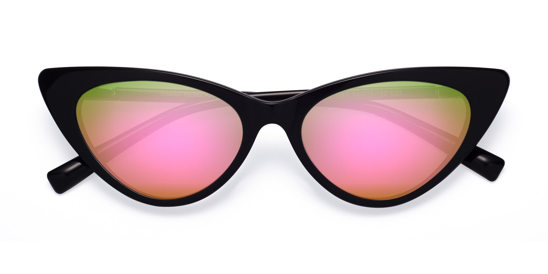Folded Front of Sparks in Black with Pink Mirrored Lenses