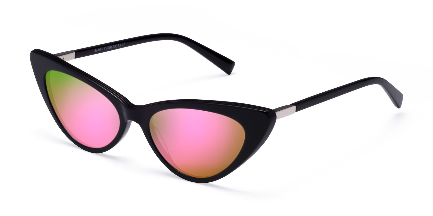 Angle of Sparks in Black with Pink Mirrored Lenses