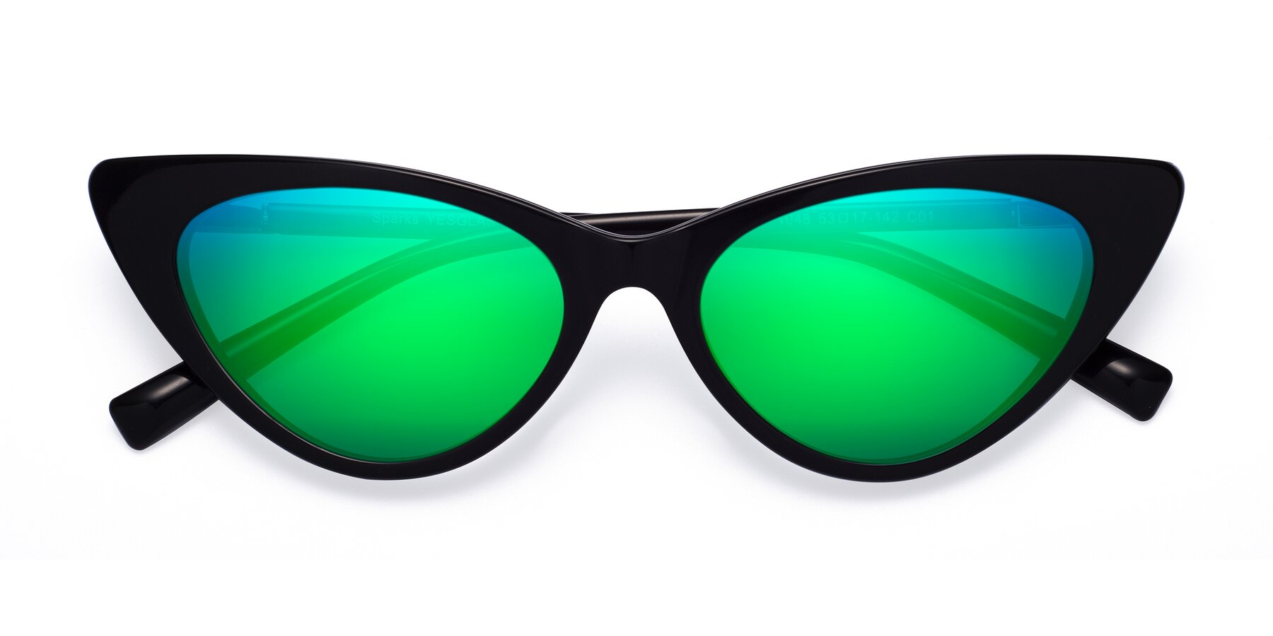 Folded Front of Sparks in Black with Green Mirrored Lenses