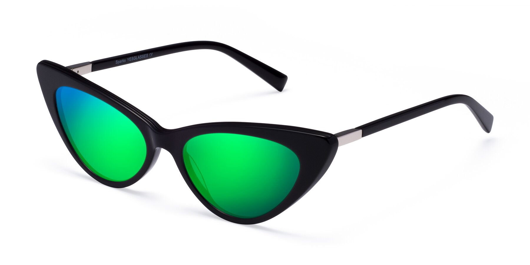Angle of Sparks in Black with Green Mirrored Lenses