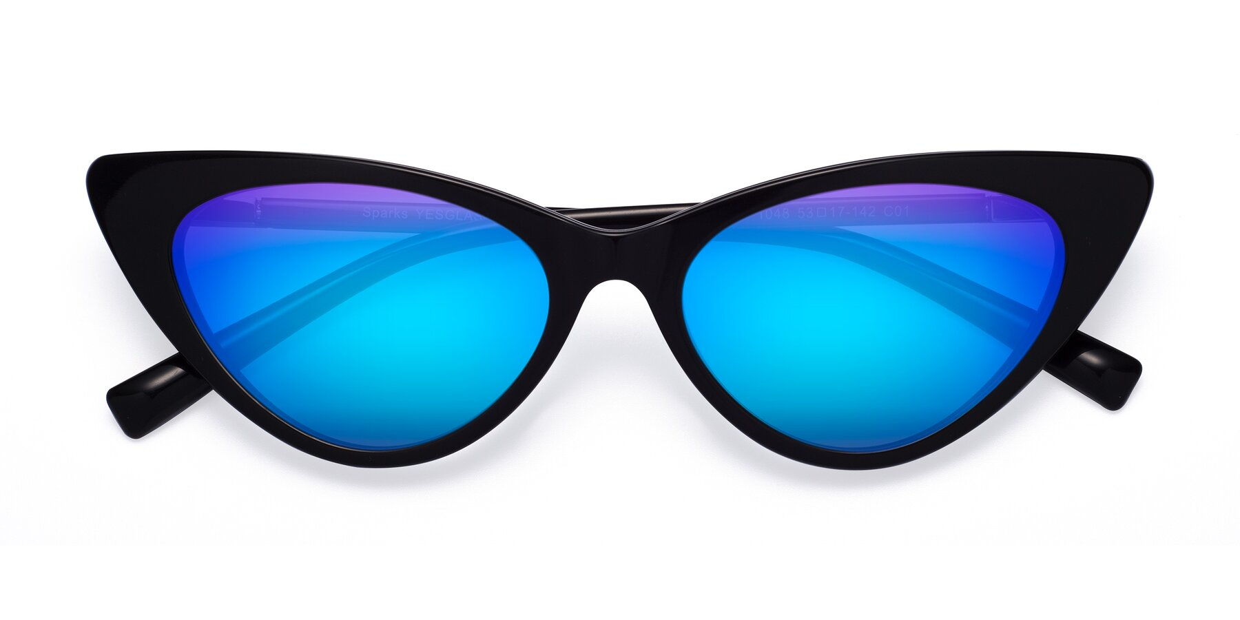 Folded Front of Sparks in Black with Blue Mirrored Lenses