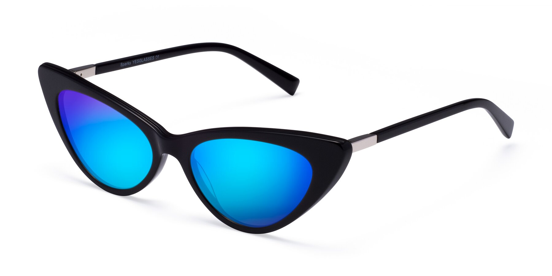 Angle of Sparks in Black with Blue Mirrored Lenses
