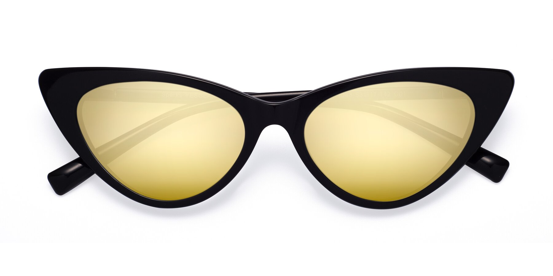 Folded Front of Sparks in Black with Gold Mirrored Lenses