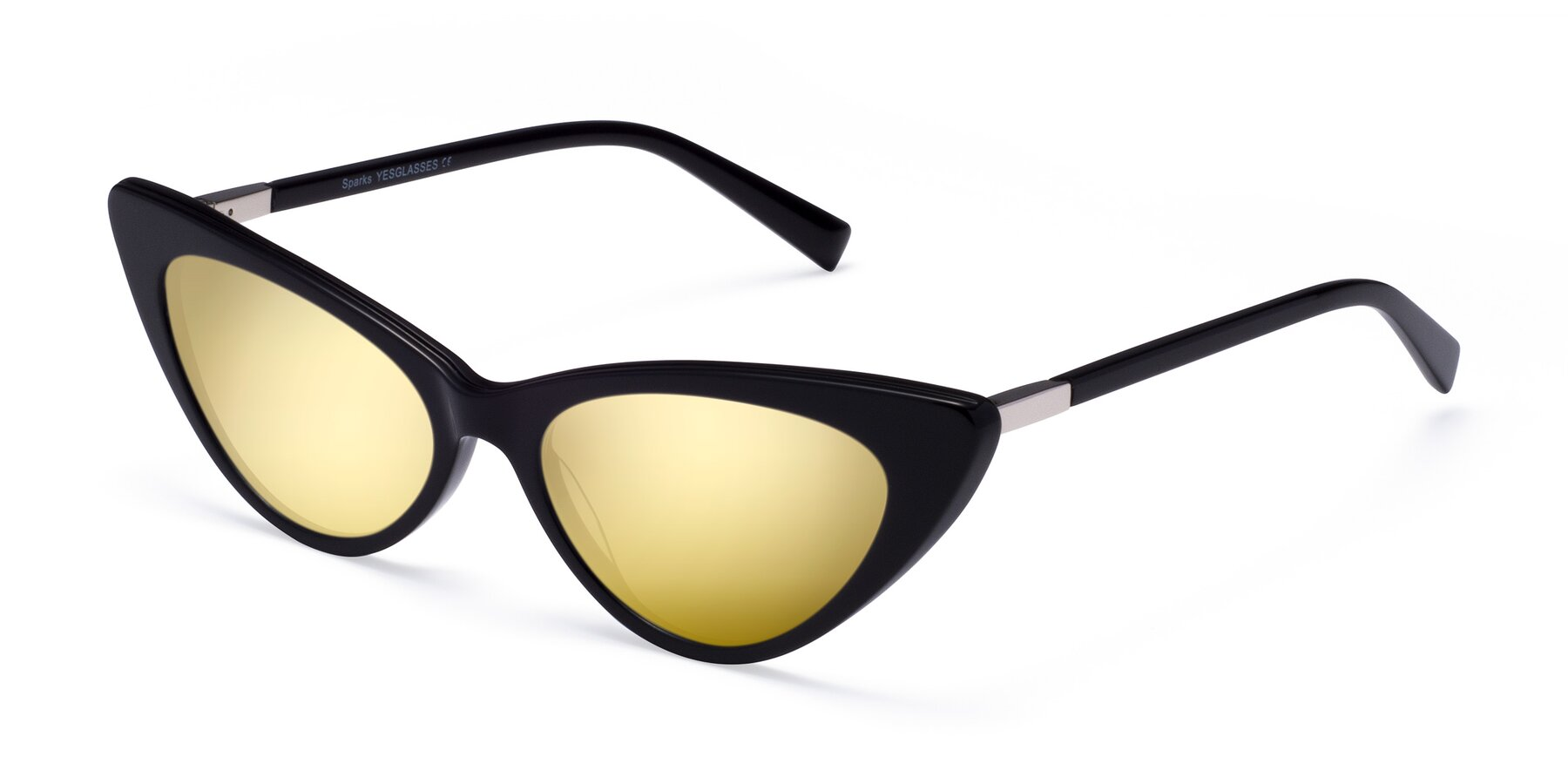 Angle of Sparks in Black with Gold Mirrored Lenses