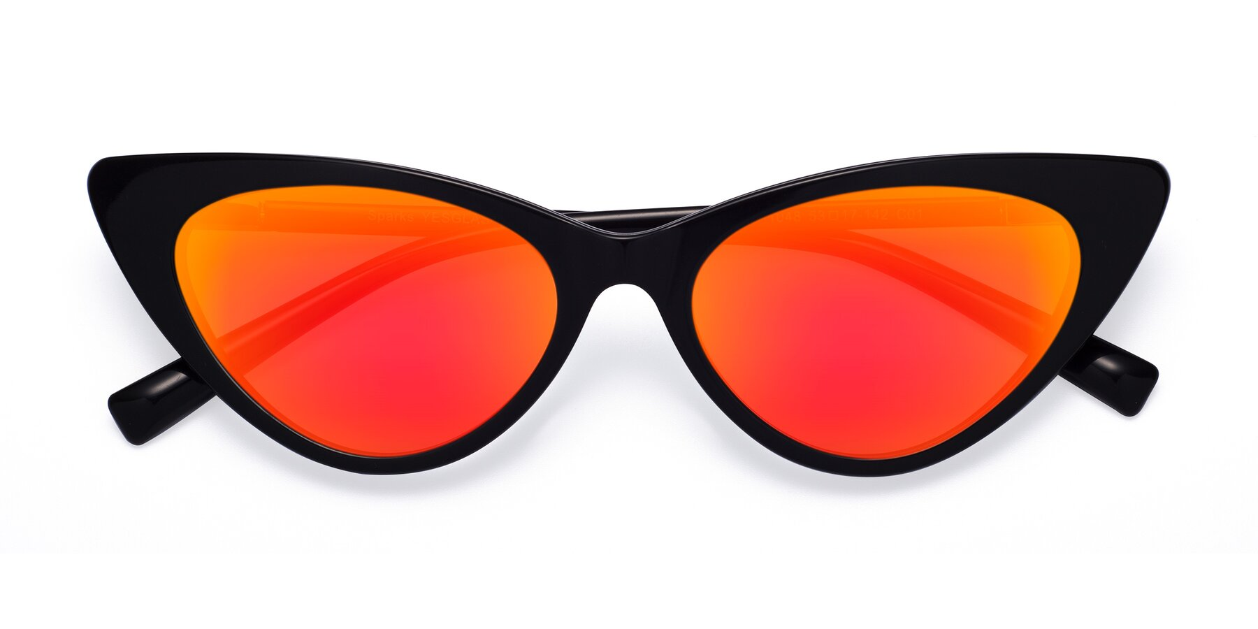 Folded Front of Sparks in Black with Red Gold Mirrored Lenses
