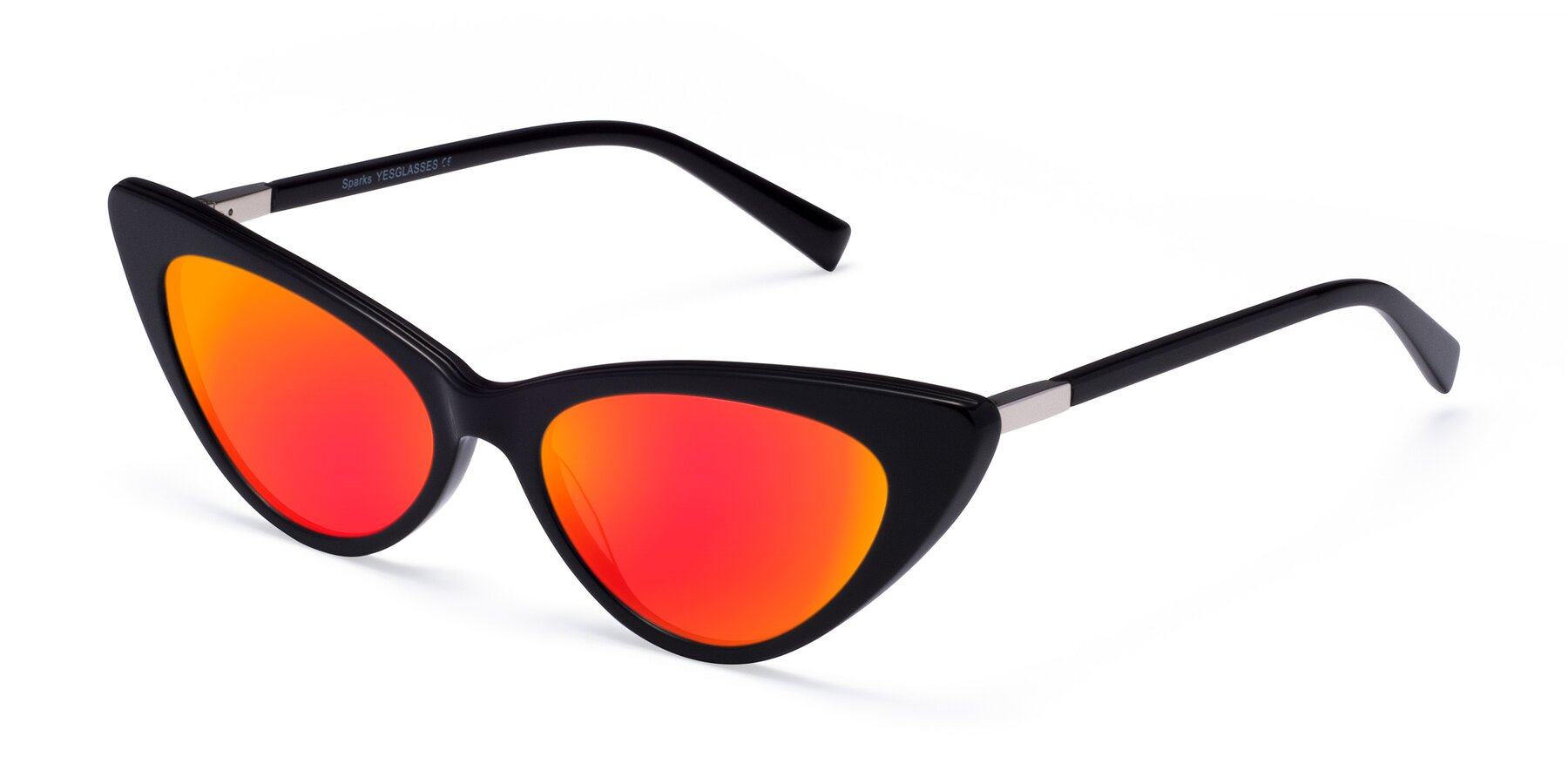 Angle of Sparks in Black with Red Gold Mirrored Lenses