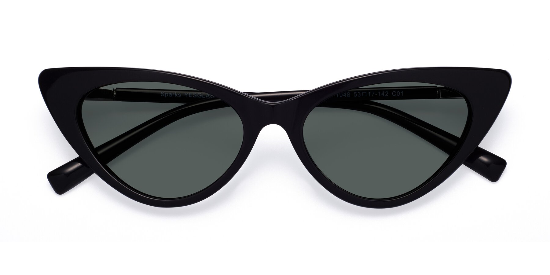 Folded Front of Sparks in Black with Gray Polarized Lenses