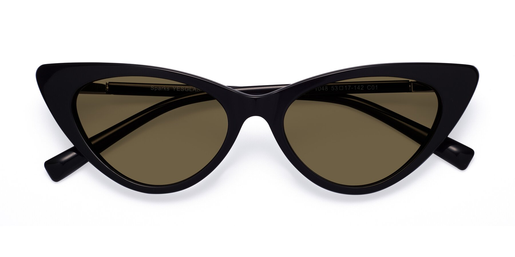 Folded Front of Sparks in Black with Brown Polarized Lenses