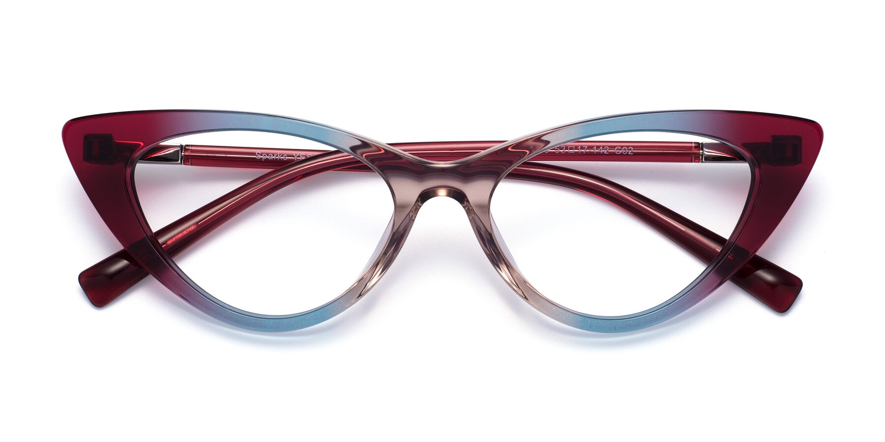 Folded Front of Sparks in Transparent Gradient Purple with Clear Eyeglass Lenses