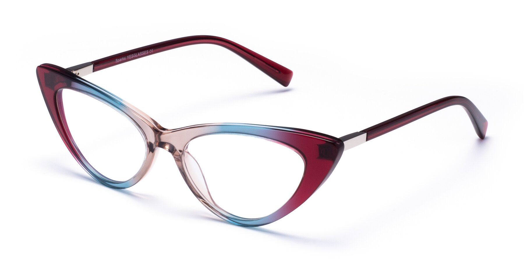 Angle of Sparks in Transparent Gradient Purple with Clear Eyeglass Lenses