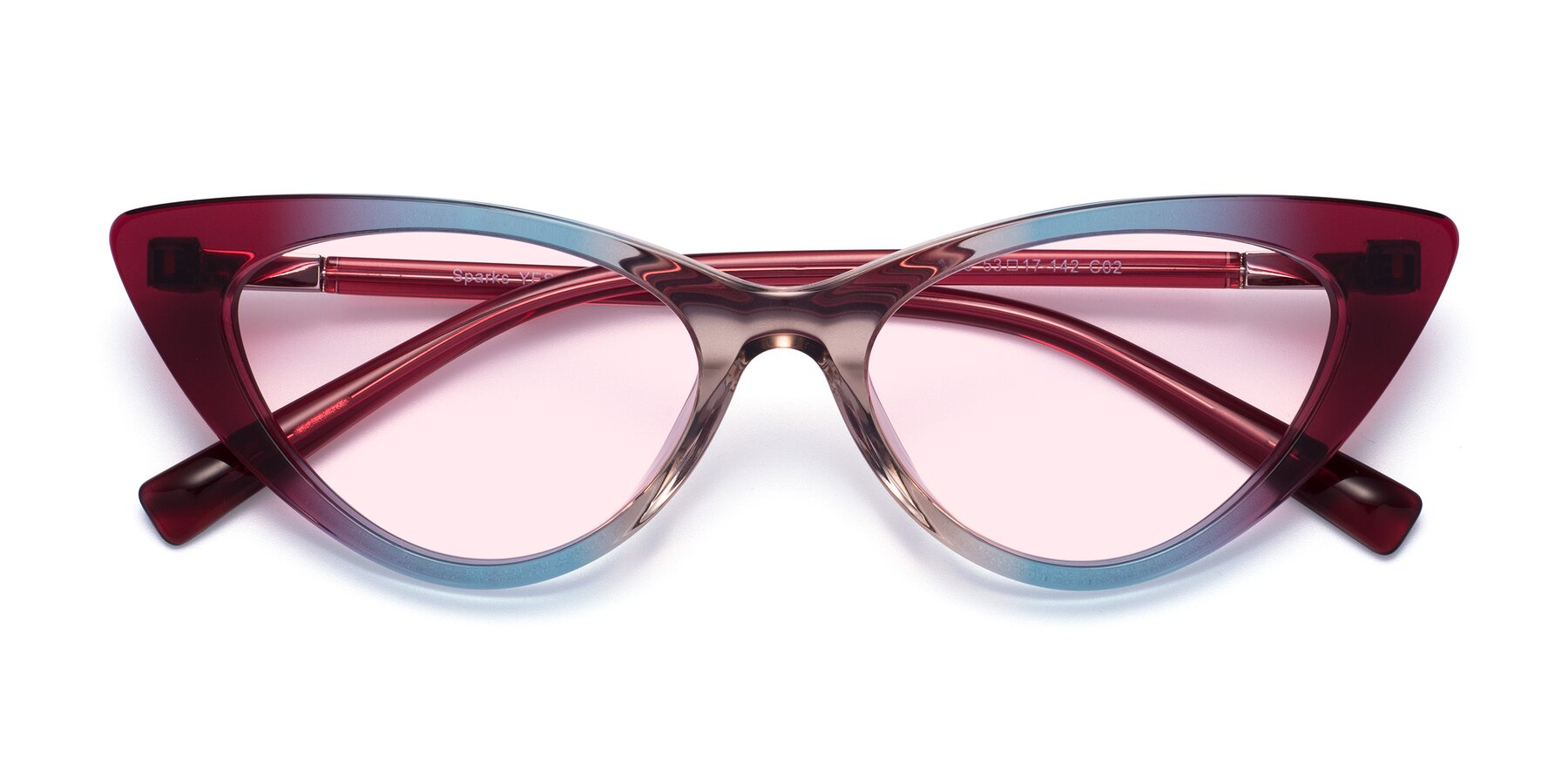Folded Front of Sparks in Transparent Gradient Purple with Light Pink Tinted Lenses