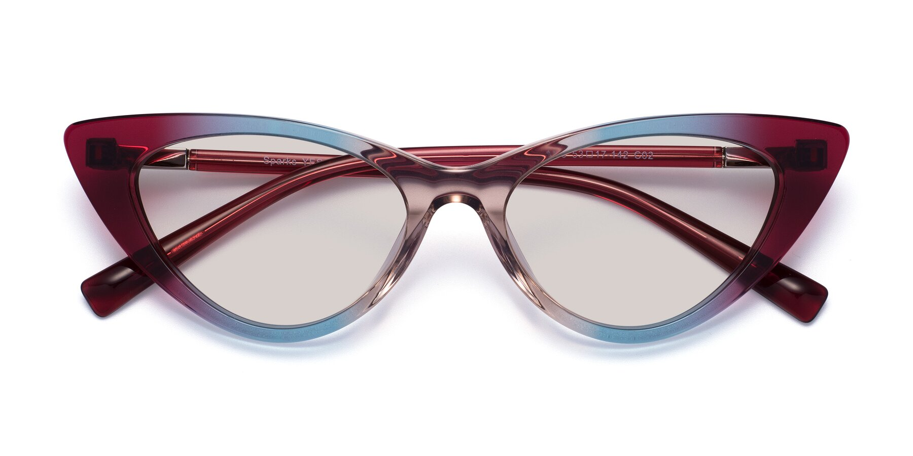 Folded Front of Sparks in Transparent Gradient Purple with Light Brown Tinted Lenses