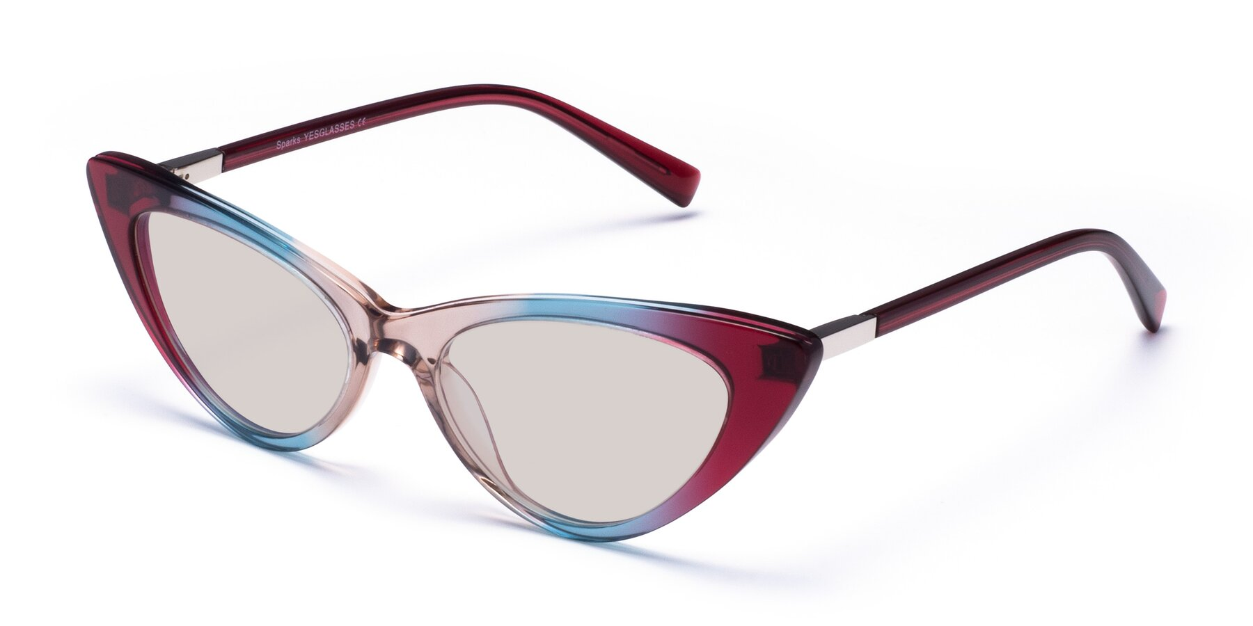 Angle of Sparks in Transparent Gradient Purple with Light Brown Tinted Lenses