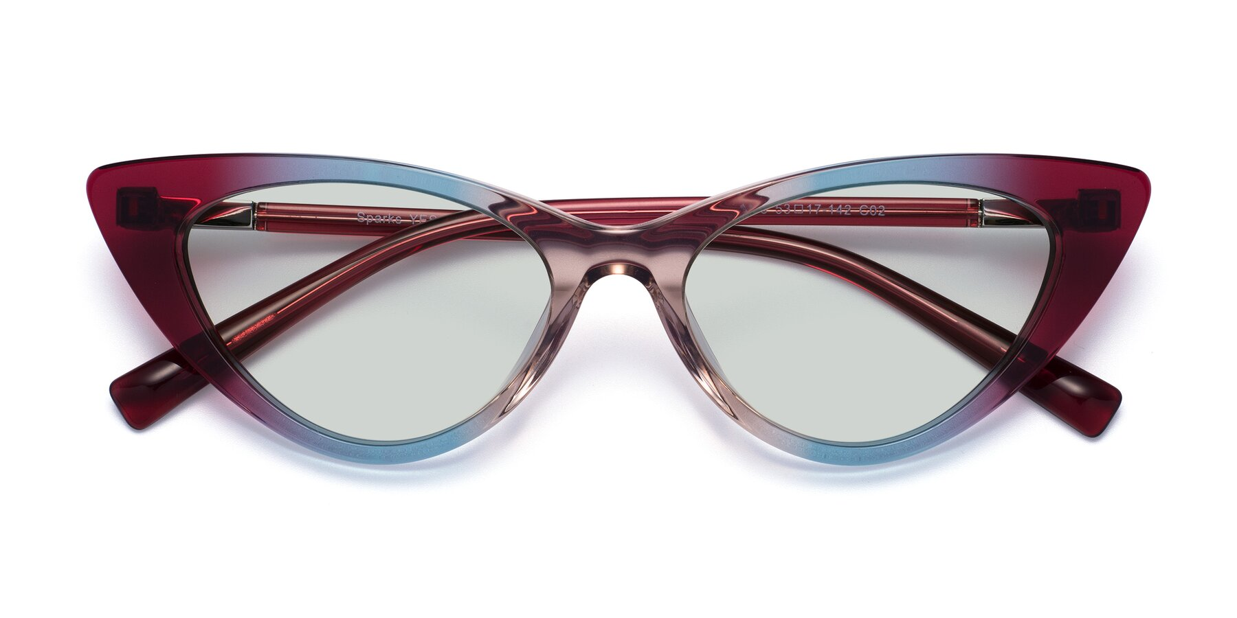 Folded Front of Sparks in Transparent Gradient Purple with Light Green Tinted Lenses