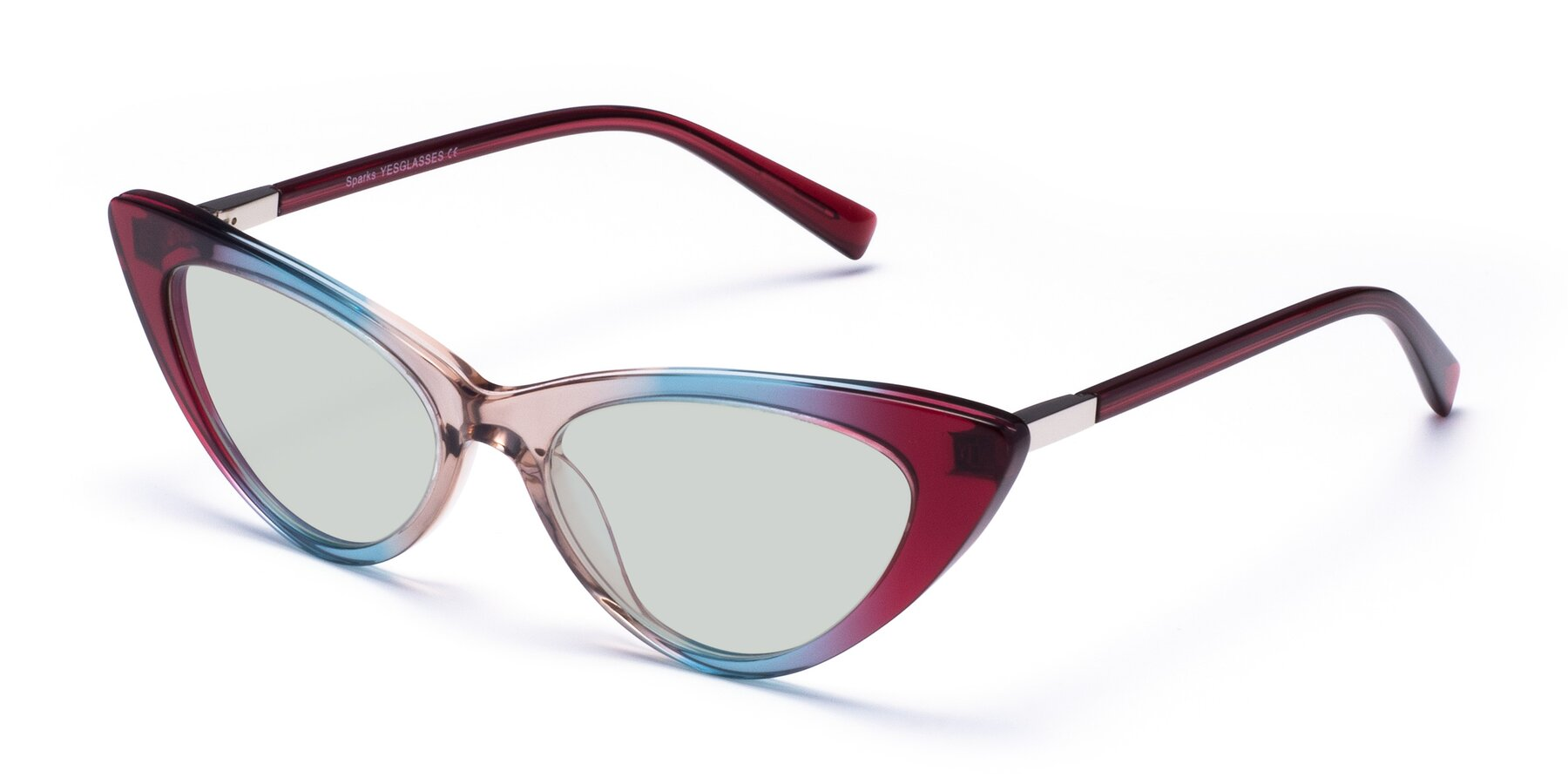 Angle of Sparks in Transparent Gradient Purple with Light Green Tinted Lenses