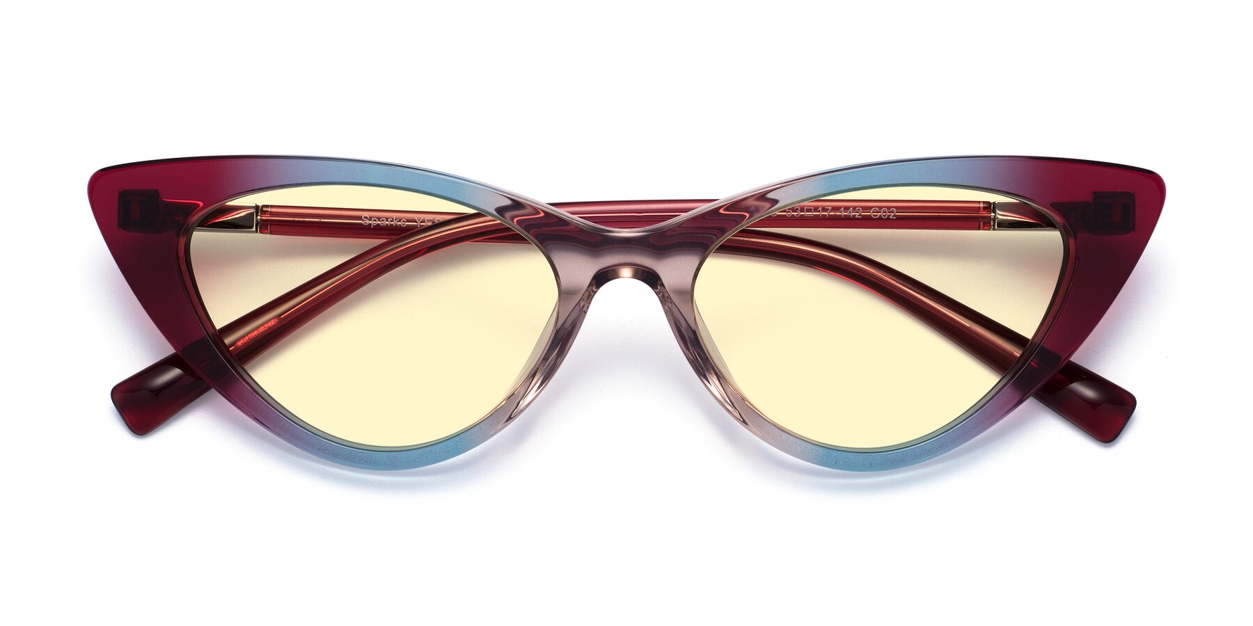 Folded Front of Sparks in Transparent Gradient Purple with Light Yellow Tinted Lenses