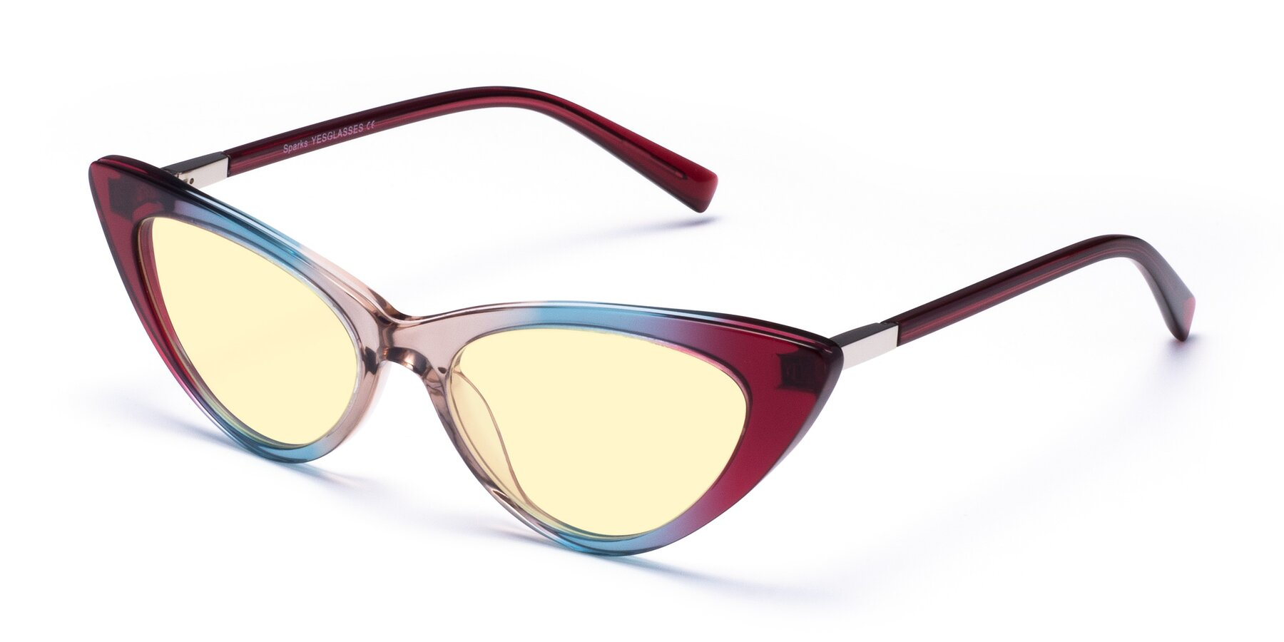 Angle of Sparks in Transparent Gradient Purple with Light Yellow Tinted Lenses