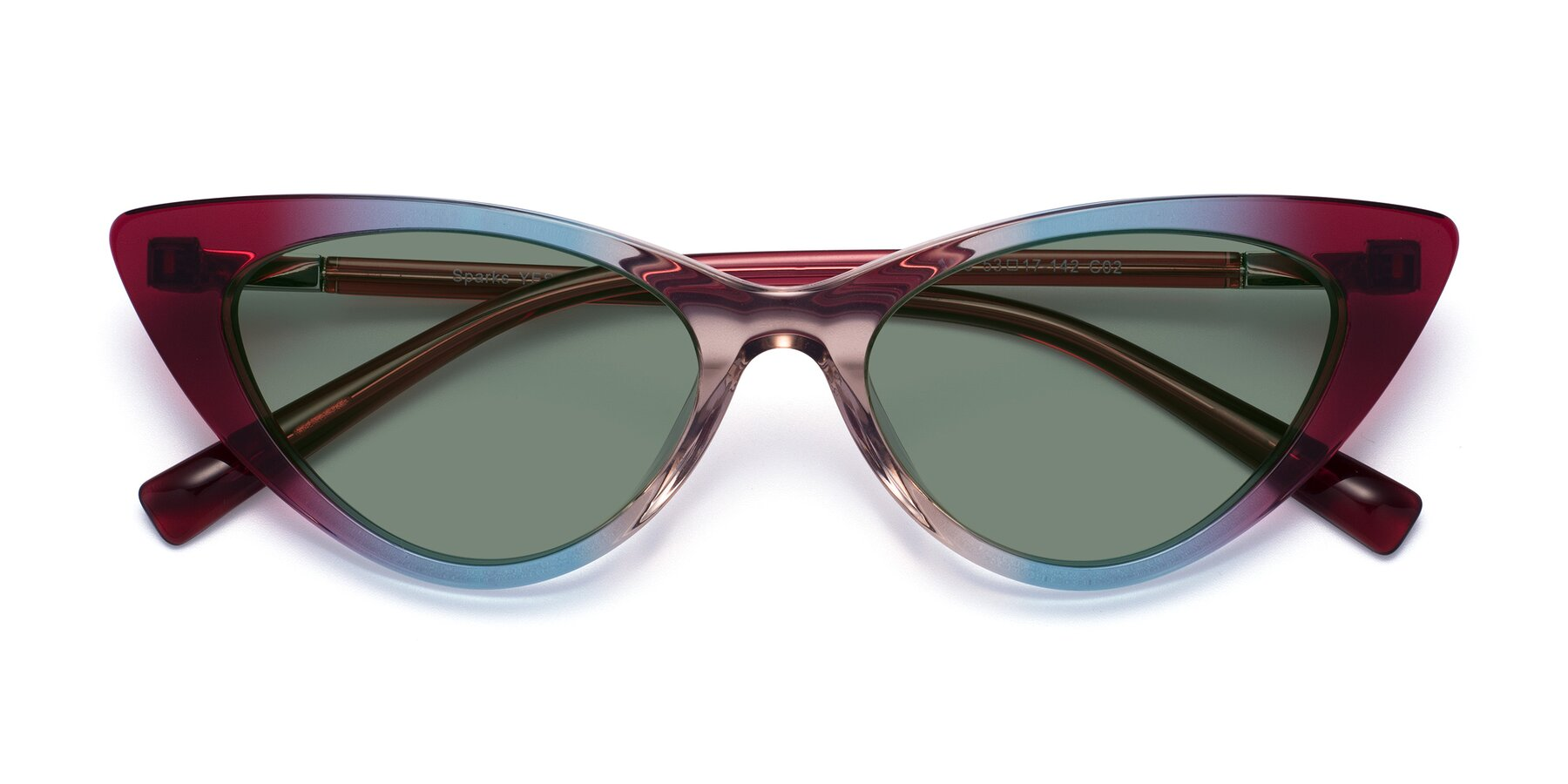 Folded Front of Sparks in Transparent Gradient Purple with Medium Green Tinted Lenses